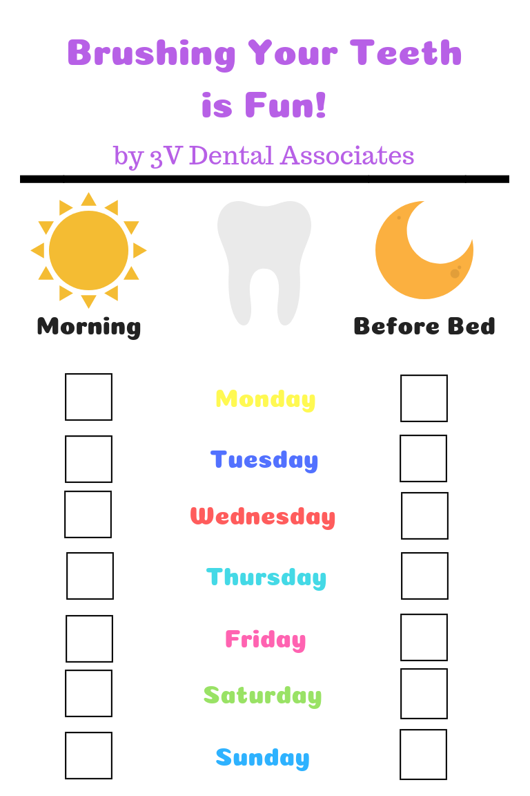 printable teeth brushing schedule for kids - 3v dental port washington ny